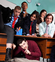 Bad Education. Image shows from L to R: Mitchell (Charlie Wernham), Stephen (Layton Williams), Alfie (Jack Whitehall), Chantelle (Nikki Runeckles), Miss Gulliver (Sarah Solemani), Fraser (Mathew Horne). Copyright: Tiger Aspect Productions.