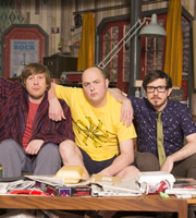 Badults. Image shows from L to R: Ben (Ben Clark), Tom (Tom Parry), Matthew (Matthew Crosby). Copyright: The Comedy Unit.