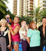 Benidorm. Image shows from L to R: Joyce (Sherrie Hewson), Kenneth (Tony Maudsley), Liam (Adam Gillen), Les / Lesley (Tim Healy), Mateo (Jake Canuso). Image credit: Tiger Aspect Productions.