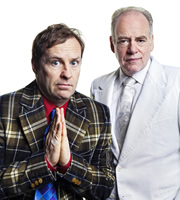 The Best Laid Plans. Image shows from L to R: Smallbone (Ardal O'Hanlon), God (Geoffrey McGivern). Image credit: Lucky Giant.