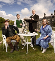 Blandings. Image shows from L to R: Clarence (Timothy Spall), Freddie (Jack Farthing), Beach (Mark Williams), Connie (Jennifer Saunders). Image credit: Mammoth Screen.