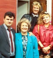 Bread. Image shows from L to R: Jack Boswell (Victor McGuire), Nellie Boswell (Jean Boht), Joey Boswell (Peter Howitt), Aveline Boswell (Gilly Coman). Image credit: British Broadcasting Corporation.