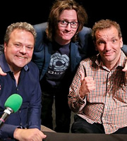 Britain Versus The World. Image shows from L to R: Hal Cruttenden, Ed Byrne, Henning Wehn. Image credit: John Stanley Productions.