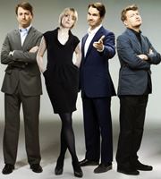 Channel 4's Alternative Election Night. Image shows from L to R: David Mitchell, Lauren Laverne, Jimmy Carr, Charlie Brooker. Copyright: Zeppotron.
