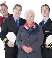 Cabin Pressure. Image shows from L to R: Arthur (John Finnemore), Douglas (Roger Allam), Carolyn (Stephanie Cole), Martin (Benedict Cumberbatch). Image credit: Pozzitive Productions.