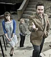 Campus. Image shows from L to R: Imogen Moffat (Lisa Jackson), Nicole Huggins (Sara Pascoe), Jonty de Wolfe (Andy Nyman). Copyright: Monicker Pictures.