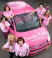 Candy Cabs. Image shows from L to R: Sally-Ann (Danielle Henry), Stella (Melanie Hill), Jackie O'Sullivan (Jo Joyner), Elaine Partridge (Lisa Millett), Big Pam (Lu Corfield), Amanda (Claire Sweeney). Image credit: Splash Media.