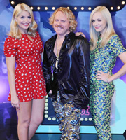 Celebrity Juice. Image shows from L to R: Holly Willoughby, Keith Lemon, Fearne Cotton. Image credit: Talkback.