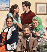 Citizen Khan. Image shows from L to R: Mrs Khan (Shobu Kapoor), Shazia (Maya Sondhi), Mr Khan (Adil Ray), Amjad (Abdullah Afzal), Alia (Bhavna Limbachia). Image credit: British Broadcasting Corporation.