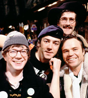 Citizen Smith. Image shows from L to R: Ken (Mike Grady), Wolfie Smith (Robert Lindsay), Tucker (Tony Millan), Speed (George Sweeney). Image credit: British Broadcasting Corporation.