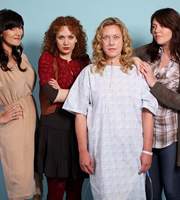 Coma Girl. Image shows from L to R: Siobhan (Sarah Solemani), Pip (Katherine Parkinson), Lucy (Anna Crilly), Sarah (Katy Wix). Image credit: Hartswood Films Ltd.