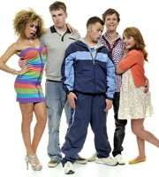 Coming Of Age. Image shows from L to R: Jas (Hannah Job), Ollie (Ceri Phillips), DK (Joe Tracini), Matt (Tony Bignell), Chloe (Anabel Barnston). Image credit: British Broadcasting Corporation.