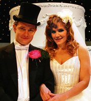 Confetti. Image shows from L to R: Matt (Martin Freeman), Sam (Jessica Stevenson). Image credit: British Broadcasting Corporation.