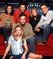 Coupling. Image shows from L to R: Jane (Gina Bellman), Susan (Sarah Alexander), Steve (Jack Davenport), Jeff (Richard Coyle), Sally (Kate Isitt), Patrick (Ben Miles). Image credit: Hartswood Films Ltd.