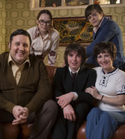 Cradle To Grave. Image shows from L to R: Fred 'Spud' Baker (Peter Kay), Sharon Baker (Alice Sykes), Danny Baker (Laurie Kynaston), Michael Baker (Frankie Wilson), Bet Baker (Lucy Speed). Image credit: ITV Studios.