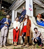 Crashing. Image shows from L to R: Fred (Amit Shah), Kate (Louise Ford), Sam (Jonathan Bailey), Lulu (Phoebe Waller-Bridge), Anthony (Damien Molony), Melody (Julie Dray). Image credit: Big Talk Productions.