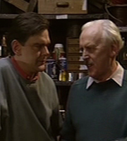 Dad. Image shows from L to R: Alan Hook (Kevin McNally), Brian Hook (George Cole). Image credit: British Broadcasting Corporation.