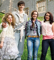 Dani's Castle. Image shows from L to R: Esme (Jordan Brown), Gabriel (Niall Wright), Kaitlin (Shannon Flynn), Dani (Dani Harmer). Image credit: The Foundation.