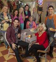 Edge Of Heaven. Image shows from L to R: Ann-Marie (Laura Checkley), Alfie (Blake Harrison), Michelle (Louisa Lytton), Carly (Justine Cain), Camp Gary (Robert Evans), Nanny Mo (Marcia Warren), Bald Gary (Adrian Scarborough), Judy (Camille Coduri), Tandeep (Nitin Kundra). Image credit: Hartswood Films Ltd.
