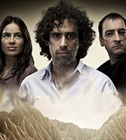 ElvenQuest. Image shows from L to R: Penthiselea (Sophie Winkleman), Sam (Stephen Mangan), Lord Darkness (Alistair McGowan). Image credit: British Broadcasting Corporation.