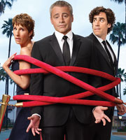 Episodes. Image shows from L to R: Beverly Lincoln (Tamsin Greig), Matt LeBlanc (Matt LeBlanc), Sean Lincoln (Stephen Mangan). Image credit: Hat Trick Productions.