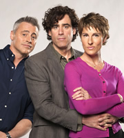 Episodes. Image shows from L to R: Matt (Matt LeBlanc), Sean Lincoln (Stephen Mangan), Beverly Lincoln (Tamsin Greig). Image credit: Hat Trick Productions.