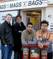 Fags, Mags And Bags. Image shows from L to R: Dave (Donald McLeary), Ramesh (Sanjeev Kohli), Alok (Susheel Kumar), Sanjay (Omar Raza). Image credit: The Comedy Unit.