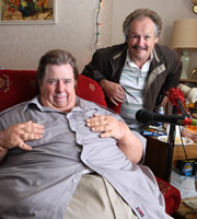 The Fattest Man In Britain. Image shows from L to R: Georgie Godwin (Timothy Spall), Morris Morrissey (Bobby Ball).