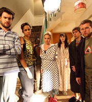 Fresh Meat. Image shows from L to R: JP (Jack Whitehall), Vod (Zawe Ashton), Josie (Kimberley Nixon), Oregon (Charlotte Ritchie), Kingsley (Joe Thomas), Howard (Greg McHugh). Copyright: Objective Productions / Lime Pictures.