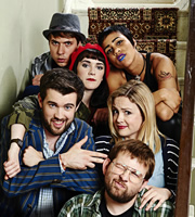 Fresh Meat. Image shows from L to R: Kingsley (Joe Thomas), Oregon (Charlotte Ritchie), Vod (Zawe Ashton), JP (Jack Whitehall), Josie (Kimberley Nixon), Howard (Greg McHugh). Image credit: Objective Productions.