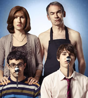 Friday Night Dinner. Image shows from L to R: Jackie (Tamsin Greig), Adam (Simon Bird), Martin (Paul Ritter), Jonny (Tom Rosenthal). Image credit: Popper Pictures.
