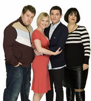 Gavin & Stacey. Image shows from L to R: Smithy (James Corden), Stacey (Joanna Page), Gavin (Mathew Horne), Nessa (Ruth Jones). Image credit: Baby Cow Productions.