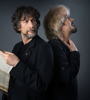 Good Omens. Image shows from L to R: Neil Gaiman, Dirk Maggs. Copyright: BBC.