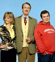 The Green Green Grass. Image shows from L to R: Marlene Boyce (Sue Holderness), Boycie (John Challis), Tyler Boyce (Jack Doolan). Image credit: Shazam Productions.