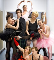 Green Wing. Image shows from L to R: Caroline Todd (Tamsin Greig), Martin Dear (Karl Theobald), Guy Secretan (Stephen Mangan), Sue White (Michelle Gomez), Joanna Clore (Pippa Haywood), Mac Macartney (Julian Rhind-Tutt), Boyce (Oliver Chris), Alan Statham (Mark Heap). Image credit: Talkback Productions.