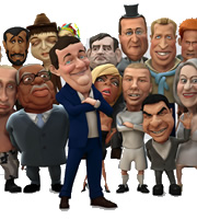 Characters from Headcases. From left to right: Vladimir Putin, President Ahmadinejad, Trevor McDonald, Pete Doherty, Piers Morgan, Victoria Beckham, Gordon Brown, David Cameron, David Beckham, Prince William, Tom Cruise, Prince Harry, Dame Helen Mirren.