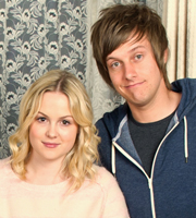 Hebburn. Image shows from L to R: Sarah Pearson (Kimberley Nixon), Jack Pearson (Chris Ramsey). Image credit: Channel X.