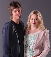 Hebburn. Image shows from L to R: Jack Pearson (Chris Ramsey), Sarah Pearson (Kimberley Nixon). Image credit: Channel X.