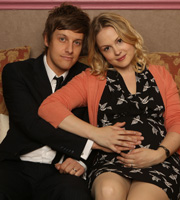 Hebburn. Image shows from L to R: Jack Pearson (Chris Ramsey), Sarah Pearson (Kimberley Nixon). Image credit: Channel X North.