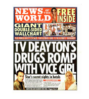 The News Of The World Front Cover - TV Deayton's Drugs Romp With Vice Girl.