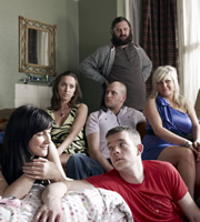 Him & Her. Image shows from L to R: Becky (Sarah Solemani), Laura (Kerry Howard), Dan (Joe Wilkinson), Paul (Ricky Champ), Steve (Russell Tovey), Shelly (Camille Coduri). Image credit: Big Talk Productions.