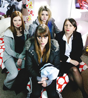 Home Time. Image shows from L to R: Mel (Hayley Jayne Standing), Gaynor (Emma Fryer), Kelly (Rebekah Staton), Becky (Kerry Godliman). Image credit: Baby Cow Productions.