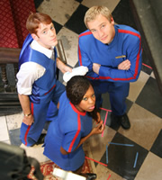 Hotel Trubble. Image shows from L to R: Lenny (Gary Damer), Sally (Dominique Moore), Jamie (Sam Phillips). Image credit: British Broadcasting Corporation.