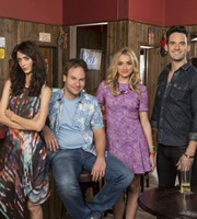 I Live With Models. Image shows from L to R: Anna (Rebecca Reid), Tommy (David Hoffman), Scarlet (Brianne Howey), Enrique (Eric Aragon). Image credit: Roughcut Television.