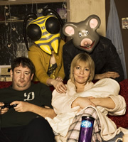 Ideal. Image shows from L to R: Moz (Johnny Vegas), Judith (Joanna Neary), Nicki (Nicola Reynolds), Cartoon Head (David Sant). Image credit: Baby Cow Productions.