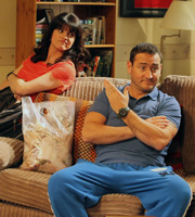 In With The Flynns. Image shows from L to R: Caroline (Niky Wardley), Liam (Will Mellor). Image credit: Caryn Mandabach Productions.