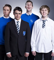 The Inbetweeners. Image shows from L to R: Simon Cooper (Joe Thomas), Will Mackenzie (Simon Bird), Neil Sutherland (Blake Harrison), Jay Cartwright (James Buckley). Image credit: Bwark Productions.