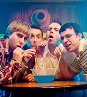The Inbetweeners Movie. Image shows from L to R: Jay Cartwright (James Buckley), Neil Sutherland (Blake Harrison), Simon Cooper (Joe Thomas), Will MacKenzie (Simon Bird). Image credit: Bwark Productions.