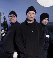 The Invisibles. Image shows from L to R: Syd Woolsey (Warren Clarke), Maurice Riley (Anthony Head), Hedley Huthwaite (Dean Lennox Kelly). Image credit: Company Pictures.