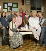 Jam & Jerusalem. Image shows from L to R: Kate Bales (Rosie Cavaliero), Caroline Martin (Jennifer Saunders), Queenie (Doreen Mantle), Susie (Suzy Aitchison), Eileen Pike (Maggie Steed), Tip Haddam (Pauline McLynn), Rosie Bales (Dawn French), Sal Vine (Sue Johnston). Image credit: British Broadcasting Corporation.
